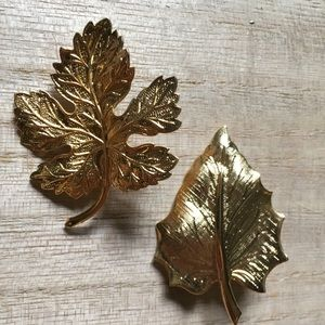 Vintage leaves brooch lot